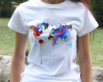 Colorful Map Tee  - Map T-shirt - Fashion women's apparel - Colorful printed tee - Gift Idea