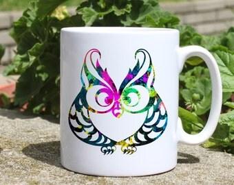 Owl mug - Bird mug - Colorful printed mug - Tee mug - Coffee Mug - Gift Idea