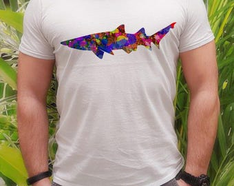 Shark t-shirt - Shark tee - Fashion men's apparel - Colorful printed tee - Gift Idea