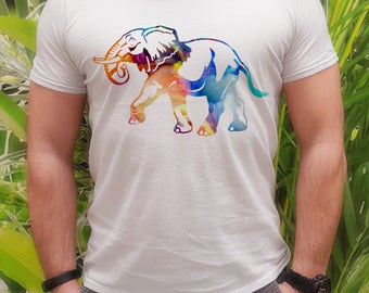 Cool t-shirt with Elephant - Elephant tee - Fashion men's apparel - Colorful printed tee - Gift Idea