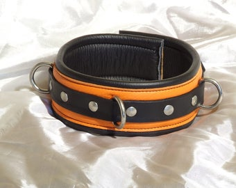 Leather bondage collar, genuine leather, padded, orange