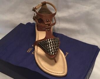 Stuart Weitzman metal sheild sandals 6.5