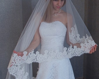 "Church veil, Cathedral Wedding veil, Drop veil blusher, Lace Drop Veil, Veil for Cathedral, Lace Ivory Veil, 108"" Cathedral length"