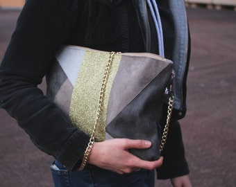 CARLA taupe suede pouch, dark gray, light gray and Golden glitter