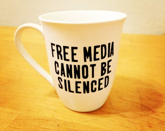 NPR & Free Media Collection - Free Media Cannot Be Silenced Vinyl on Mug, Wine Glass, Tumbler, or Pint Glass