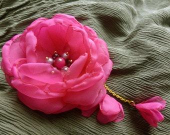 Pink chiffon flower, fabric flower brooch, flower hair clip, fuschia chiffon flower, pink peony, crimson fabric rose, boho flower