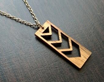 Laser Cut  Chevron Bar Necklace