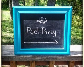Framed Chalkboard, Chalkboard Frame, Wood Frame, Chalkboard, Frame, Blue Frame, Blue Chalkboard, Wood Sign, Painted Sign, Party sign, Sign