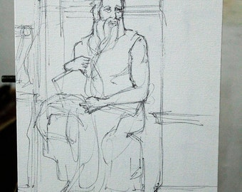 the moses study  michelangelo - Executed in ink on cardboard canvas size inch 7,8 x11,7 inch