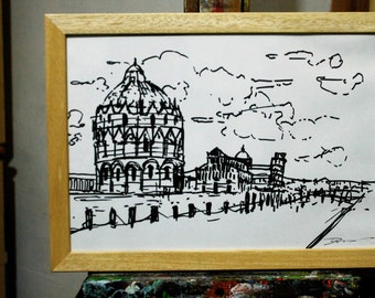 """Drawing """"Piazza dei Miracoli Pisa done with black marker on fabriano paper size cm29 .5 x 21 cm"""