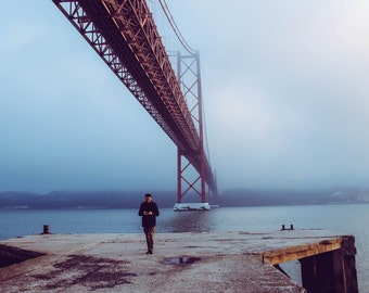 Travel Photography, Bridge, Portugal, Lisbon, mist