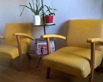 Fauteuils et poufs vintage 60 jaune