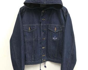 Hooded denim jacket | Etsy