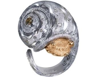 Diamond Gold Codi Snail Ring by Alex Soldier. Ltd Ed. Handmade in NYC.