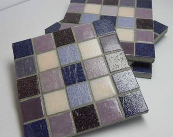 Mosaic Coasters Purple and Pink Glass Set of 4