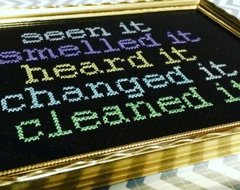 A Mothers Checklist - Handmade Framed Cross Stitch From The Dusty Muffin Collection