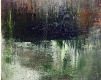 Northern Lights-Mixed media and acrylic painting.  Shipped day after purchase.