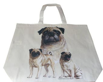 Pug Puppy  Dog  Printed Bag  100% Cotton Tote  Shopper Bag For Life
