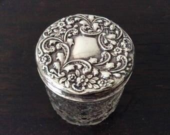 Sterling Silver Dresser Jar / Victorian / hallmarked / Repousse / Crystal Glass / Trinket Jewellery Box / Vanity / Dresser Set