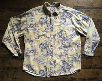 Vintage 80s GUESS By Georges Marciano Cowboy Western Print Shirt