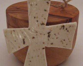 Hand Built Pottery Cross Ornament