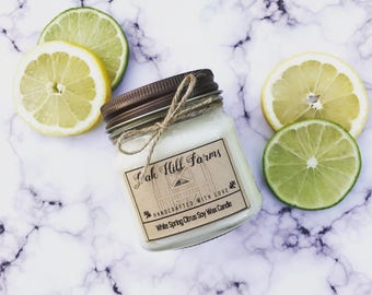 WHITE SPRING CITRUS, soy wax candle, clean fragrance, hand poured, all natural, eco friendly, mason jar candle, lemon, lime