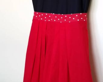 Pleated Red/White Polka Dot Apron