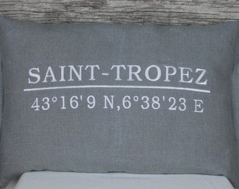 Coordinate pillows, pillow with personal coordinates, can be personalised