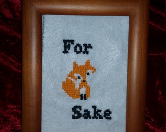For Fox Sake framed cross stitch