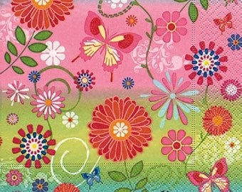 4 x Paper Napkins - Flowery Pattern - Ideal for Decoupage / Decopatch [CTA-130963A]