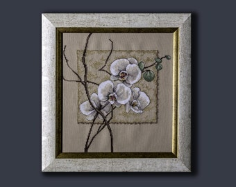 cross stitch embroidery picture with orchid