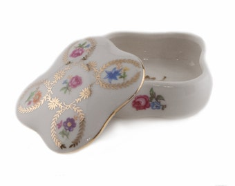 Vintage German  Trinket Porcelain Box by Martinroda-Friedrich Eger & Co Crown PM mark