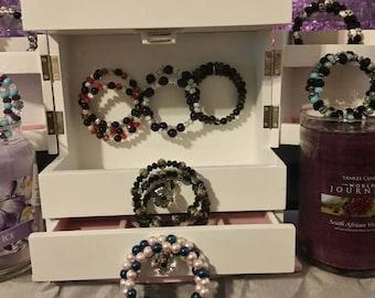 Hand made memory wire beaded bracelets