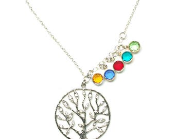 Family Tree Birthstone Necklace for Mom, Necklace with Children Bithstones, Tree of Life Necklace with Birthstones