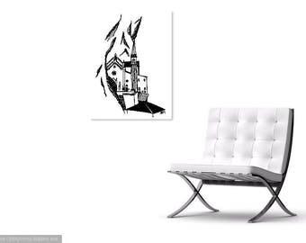 Verona Italy Mountain Line Art Print || Black and White Drawing || European Landscape
