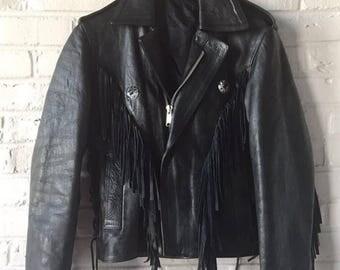 Fringe Black Leather Moto Jacket
