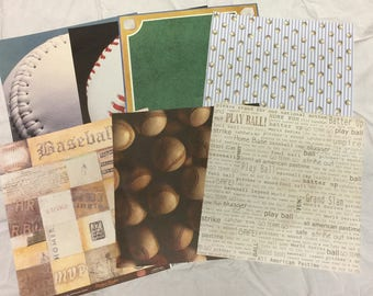 7 Baseball Themed Scrapbook Paper Pages, 12 x 12