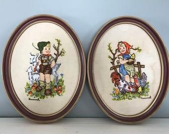 Vintage Hummel Embroidery in Oval Frame