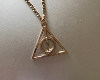 Harry Potter deathly hallows necklace, harry potter necklace, golden snitch