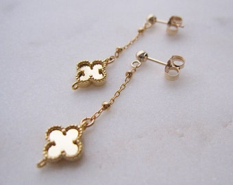Gold Clover Earrings, Gold Earring, 14K Gold Filled Earrings, Dangle & Drop Earrings, Chain Earrings, Elegant Earrings, Minimal Earrings