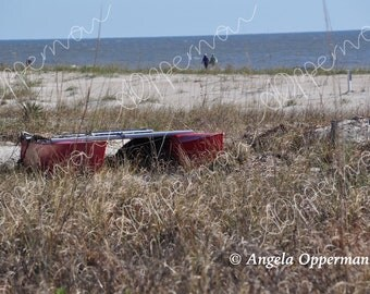 Red Boat // Photography // Beach scene // Instant Download