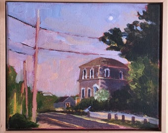 Bank Street Wellfleet, 8x10 Acrylic painting, framed