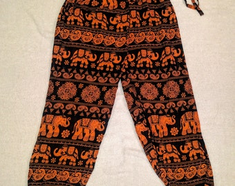 Orange African Print Harem Pants with Elephant Prints