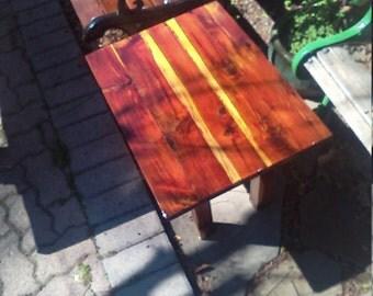 Reclaimed red cedar side table