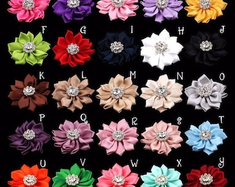 Satin Ribbon Hair Flower+Rhinestones For Baby Hair Accessories Fabric Flowers For Headbands Diy Baby Headband Supplies 2""