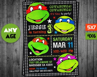 Ninja Turtles Invitation Ninja Turtle Birthday Ninja Turtles