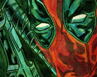 Deadpool Metallic Watercolor Print