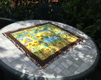 Sunflower Coffee and Bees Quilted Table Patchwork Table Topper