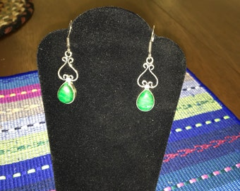 Malachite teardrop upside down heart silver dangle earrings