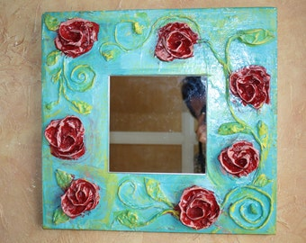 Mirror, wall mirror made of papier-mâché, 34 / 36 cm